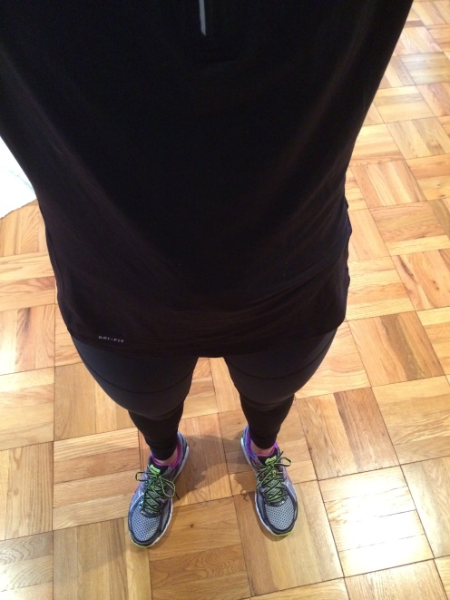 Wearing pants to run for the first time in forever. It was cold! Although, I did run past beach volleyball courts and people were wearing just their bikinis…