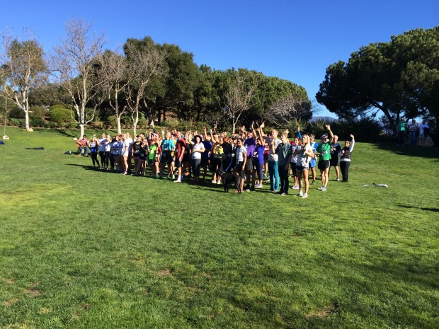 All of the racers for the inaugural year of the Elings Terrain Festival, which benefits the cross country teams at the local high schools here. Everybody is waving to the droid with the camera: