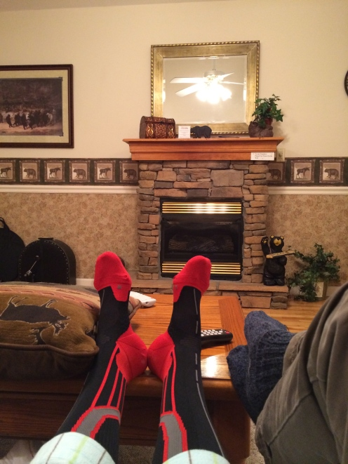 Wearing compression socks on the wrong feet at the chalet.