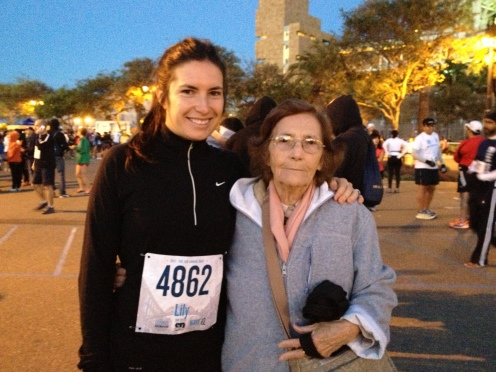 Me and my grandma before the start of the race.