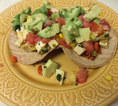 We made tofu tostadas one night for dinner.