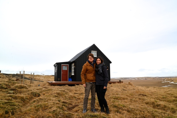 Our first picture together in Iceland, in front of our little home.