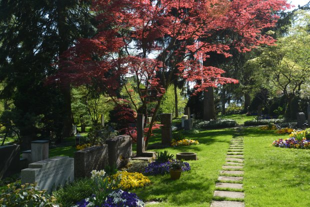 The pretty cemetery where James Joyce's grave was located.