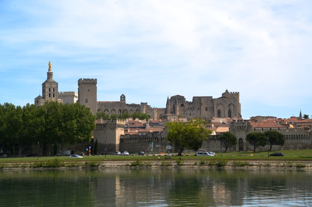 The view of Avignon from across the Rhone River.