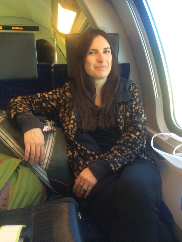 Taking the train from the airport to central Zurich.