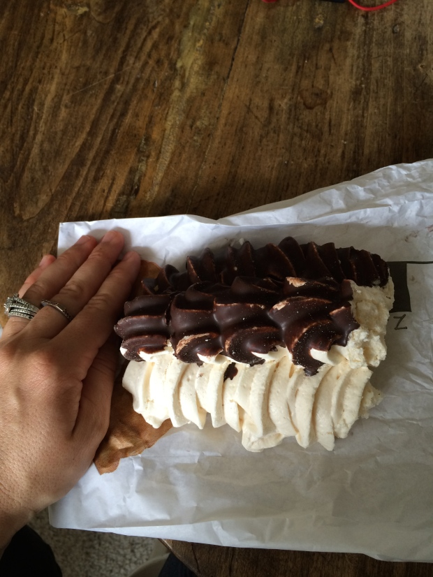 A meringue bigger than my hand (and already half eaten).