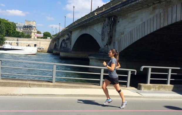 Running along the Seine in Paris.