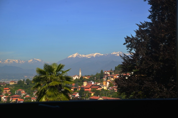 The view of the Italian Alps from the house on a clear day.