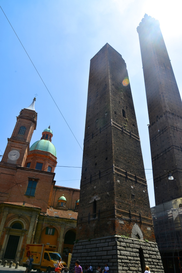 The leaning towers of Bologna.