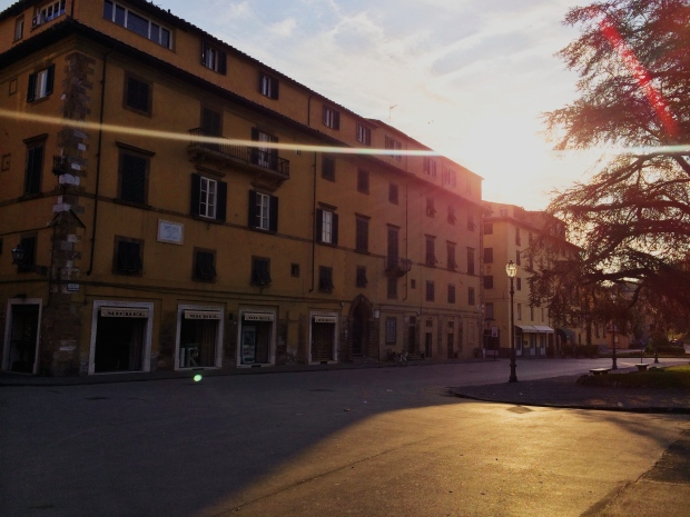Early morning streets in Lucca.