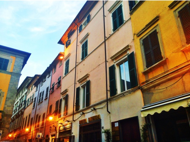 Sarzana's multi-colored buildings in the center of town.