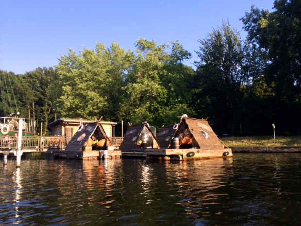 Kind of blurry, but I loved these teepees you could rent, floating on the water.