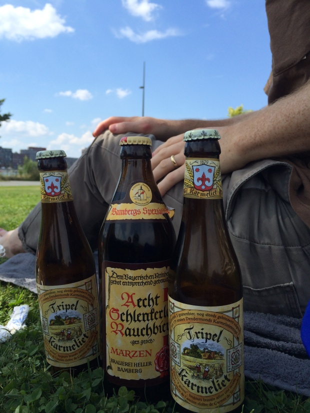 We brought the middle beer from Berlin, and the Tripel Karmeliet is a beer I used to drink at a place in Athens, Georgia, when I was in the mood to buy an expensive beer. It was at the grocery store for so cheap!