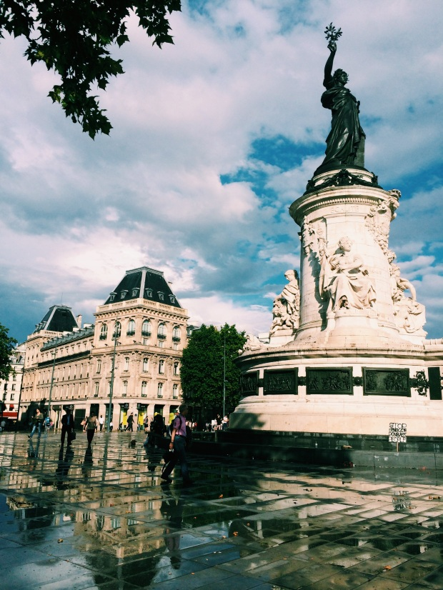 Place de la République right after a big rain storm.