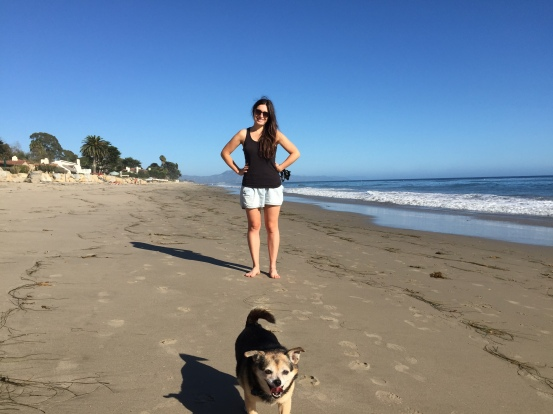 Beach walks with Pez the dog.