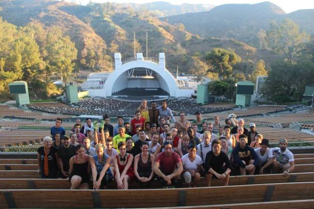 The whole gang. I love being at the Hollywood Bowl for sunrise!