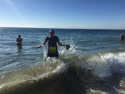 Ran the Santa Barbara Half Marathon, got hit by a wave afterward.