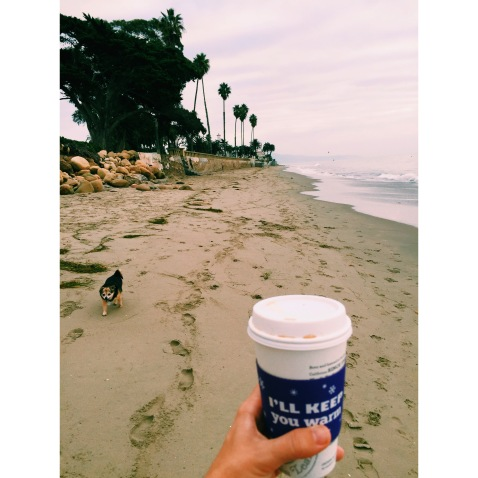 From a few weeks ago - three of my favorite things: the beach, Pez the dog, and coffee.