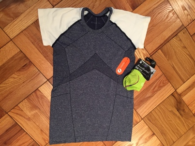 I got this Oiselle shirt, socks, and an armband for my iPhone 6.
