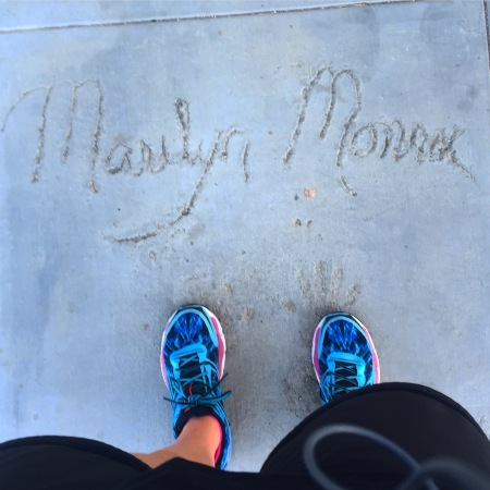 I run by this every time and I finally stopped to check it out. Not actually Marilyn Monroe's handprints.