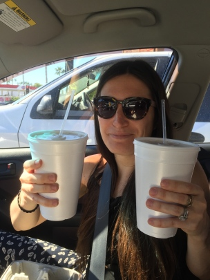 Huge cups of horchata for our 'road trip.'