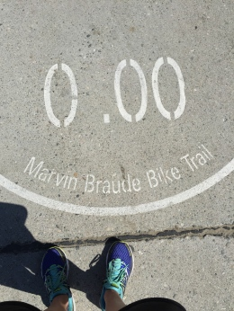 The Marvin Braude Bike Trail goes 22 miles or so from Palos Verdes to Santa Monica/Malibu.
